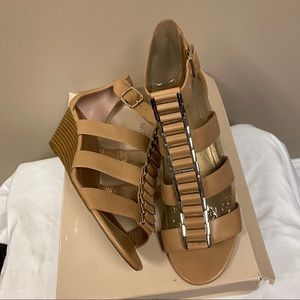Nude and gold BCBG Generation wedge sandals